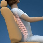 graphic of a woman sitting in a car seat with an image of her spine superimposed