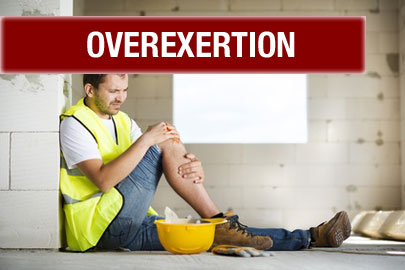 a construction worker sitting on the floor rubs his knee after overexertion