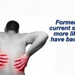 a shirtless man holding his back in pain with the graphic that says former and current smokers are more likely to have back pain