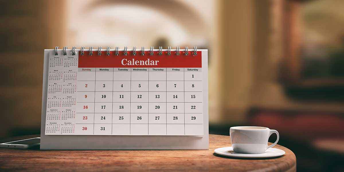 calendar on a wooden table