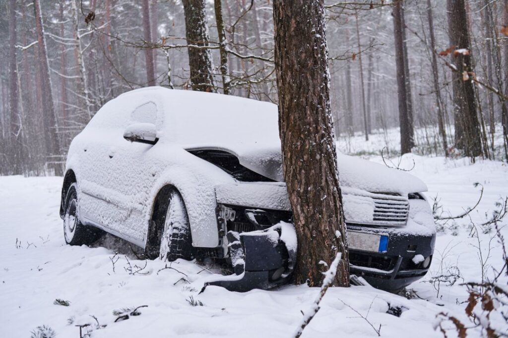car crashed into a tree in the snow
